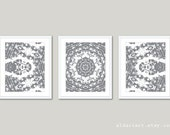 Abstract Flower Mandala Art Prints - Set of Three - Slate Grey and White Wall Art - Modern Home Decor - Multi Panel Wall Art