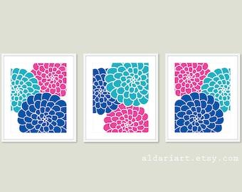 Blue and Pink Modern Flowers Art Prints - Succulent Art Prints - Flower Trio Wall Art - Multi Panel Flower Prints - Modern Bedroom Decor