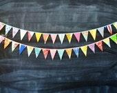 Colorful Mini Flag Wedding Garland / Wedding Reception Party Decoration / Vintage Barn Rustic Wedding / Aisle Decoration / Flag Bunting