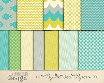 Digital paper, Digital Scrapbook paper pack - Instant download - 12 Digital Papers - By the Sea
