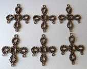 Cross Dangle Pendant with Multi Stone Settings - 45mm - Antiqued Silver Tone Strong Vintage Casting