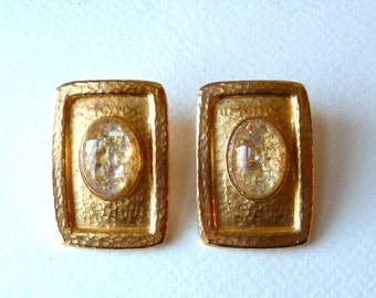 Large Vintage Dome Confetti Clip On Earrings - Hammered Gold Plate Rectangle - Silver & Gold Glitter in Center -  Big Statement Earrings