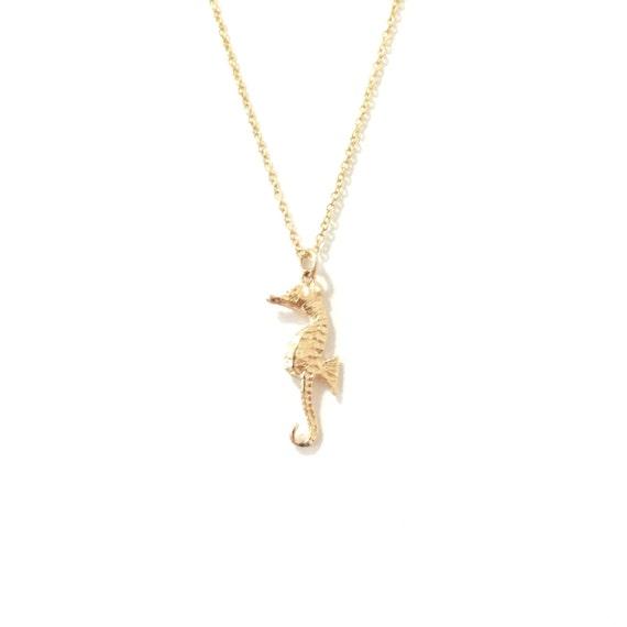 14k gold baby seahorse necklace by nanabijou on etsy