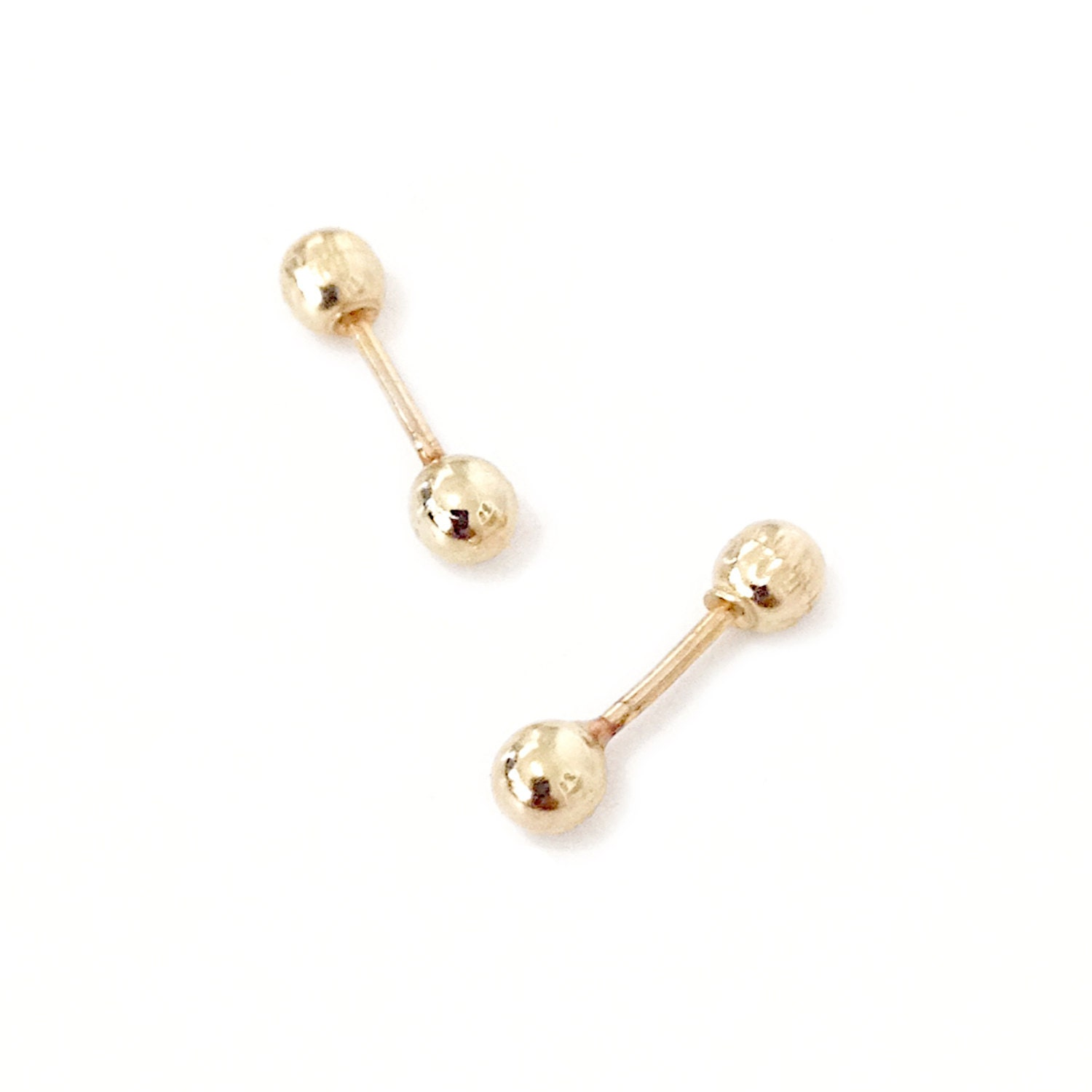 xs barbell 14k gold hollow stud earrings unisex great for