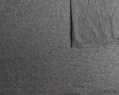 Solid Heather Charcoal Grey 4 Way Stretch French Terry Knit Fabric With Spandex, 1 Yard