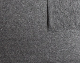 Solid Heather Charcoal Grey 4 Way Stretch French Terry Knit Fabric With Spandex, 1 Yard PRE-ORDER