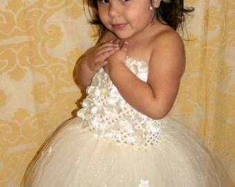 Pearlescent floral tutu dress, wedding flower girl, floor length, wedding, floral tutu dress, tutu dress, photo shoot, photo prop, birthday