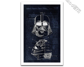 Darth Vader Helmet and Breathing Apparatus Patent Art - Star Wars Patent Design Giclee on archival matte paper