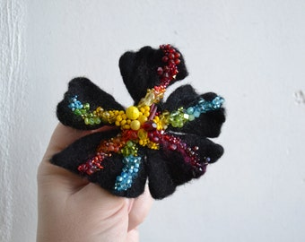 Wool Felt Flower Pin Midnight Rainbow Colors, Red Purple Yellow Green Blue, Statement Accessory