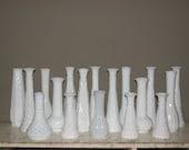 18 Vintage Milk Glass Vases Lot