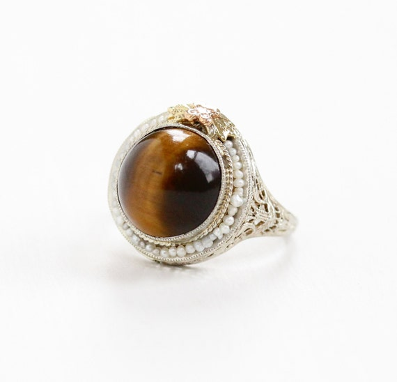Caramel Cat S Eye Ring Diamontrigue Jewelry: Sale Antique 14k White Gold Tiger's Eye By MaejeanVintage