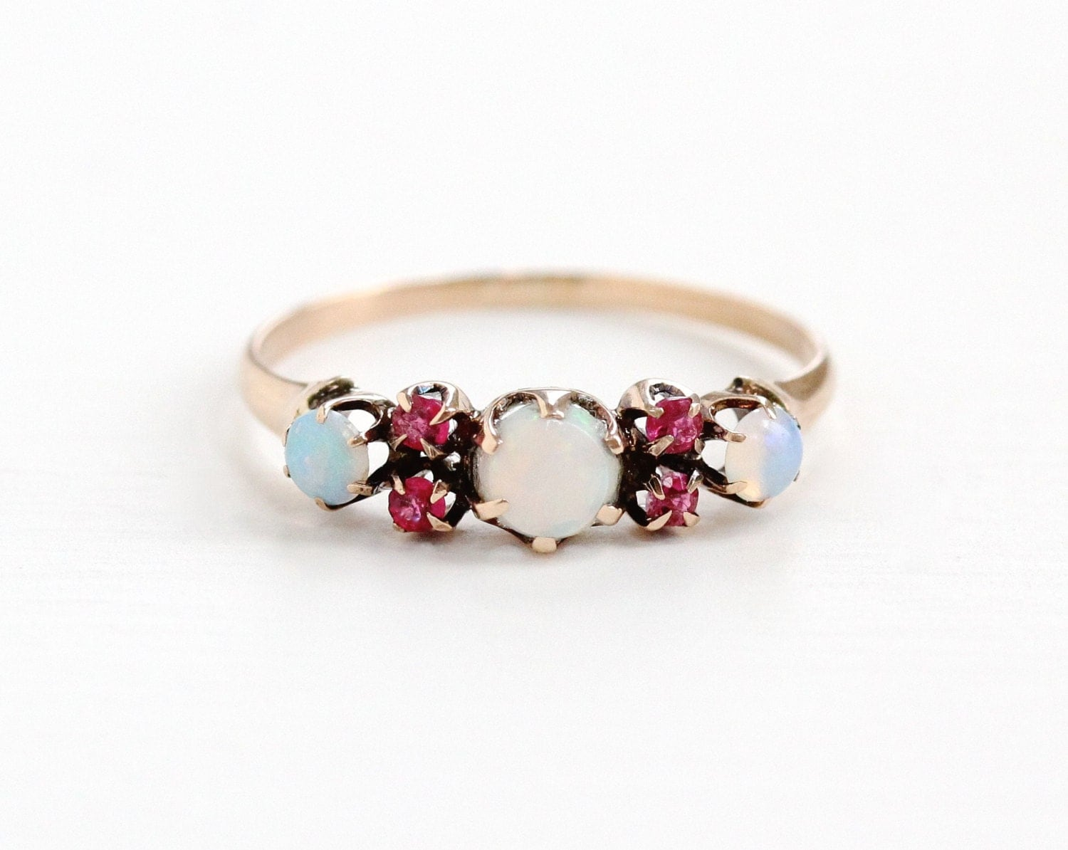 Sale Antique 8k Rose Gold Opal Amp Simulated Ruby Ring Band