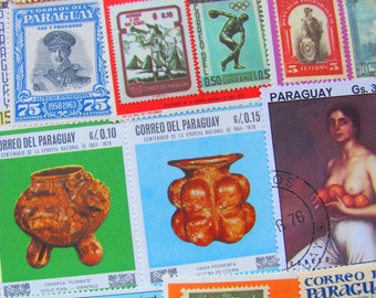 Water People 50 Vintage Paraguay Postage Stamps Republic of Paraguay South America Latin America South America Scrapbook Worldwide Philately