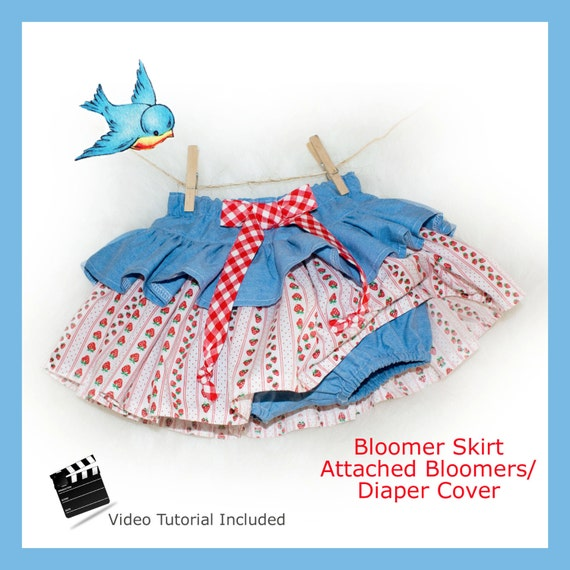 Ruffle Skirt Diaper Cover PDF Sewing Pattern Instant Delivery Baby Toddler with Attached Diaper Nappy Cover  Beginner 3 6 9 12 18 24 months