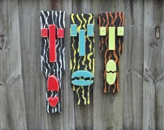 "Tiki Set ""WILD"", Tropical Wall Art, Wood Art, Tiki Masks, Wood Sculpture, Tiki Man, Animal Print"