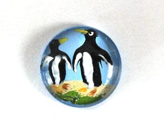 18mm Round Penguin Penguins Glass Cabochon Cab, Rounded Tops, Antarctica, Alaska, Handpainted, Quantity 1
