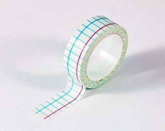 Washi Tape - White, Blue, and Red Lined Paper