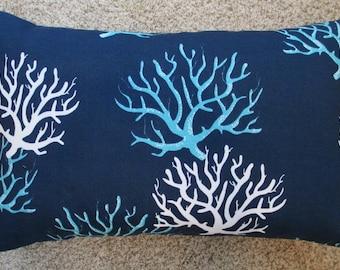 SALE 12 x 18 Lumbar Pillow Aqua  Coral  Pillow cover