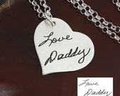 Handwriting Necklace - Heart Charm - Handwriting Jewelry