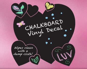 Vinyl Chalkboard Decal, Heart Wall Decal, Teen Room Wall Decor Heart Decal, Hearts Bedroom Decor, Chalk Board, Blackboard (00169d3v)