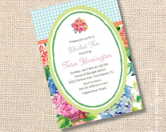 Colorful Watercolor Floral Bridal Tea Bridesmaids Luncheon Blue Pink Hydrangea Coral Aqua Gingham Coral Hydrangeas Printable Invitation