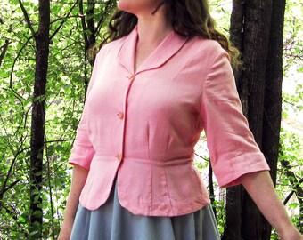 Vintage 50s jacket pink peplum classic 1950s light jacket M/L