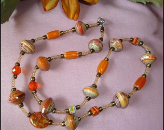 Necklace - Hand Rolled Paper Beads and Glass Beads - Handcrafted Haitian Jewelry - Rolled Paper Beaded Jewelry - P-202-AQ