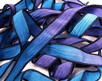 Hand Dyed Silk Ribbon - Hand Painted Crinkle Silk Jewelry Bracelet Fairy Ribbon - Purple Sea Blue - Quintessence - Mystic