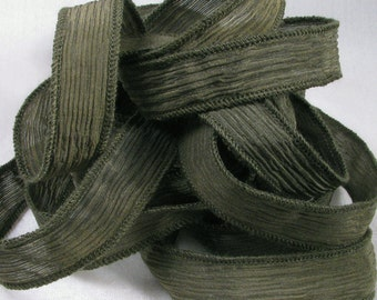 Hand Dyed Silk Ribbons - Crinkle Silk Jewelry Bracelet Fairy Ribbon - Quintessence - Dark Olive