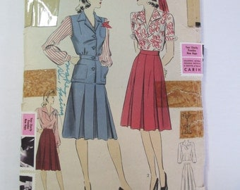 "Antique 1940's Hollywood Dress Pattern #859 - size 30"" Bust"