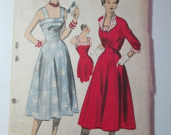 "Antique 1950's Advance Dress Pattern #5513 - size 30"" Bust"