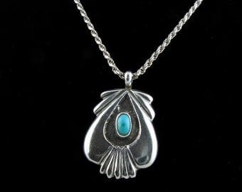 Vintage Native American turquoise silver pendant necklace