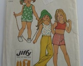 UNCUT Simplicity 5646 Girls Jiffy Stretch Knit Top in Two Lengths & Bell Bottom Pants or Shorts Size 6 Vintage 1970s