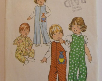 Vintage Simplicity 7240 Baby/Toddler Jumpsuit with or without Collar and Sleeves Size 1/2 (one half)