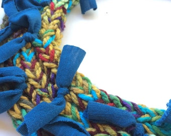 Coloful knit scarf w/ recycled t shirt material, braided necklace, statement scarf in earth tones