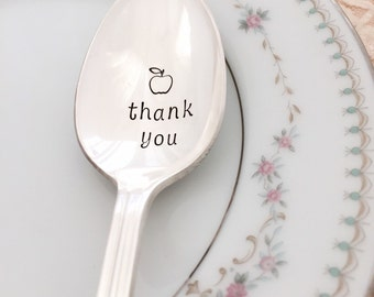 Thank you. teacher gift, apple, hand stamped vintage spoon