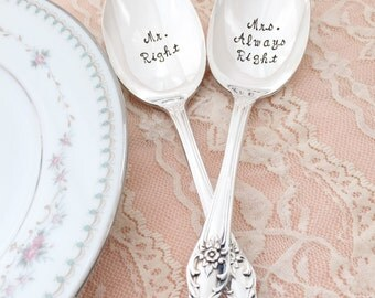 Mr. Right & Mrs. Always Right.  silverware set, vintage spoons, hand stamped