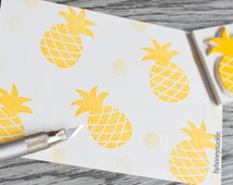 pineapple stamp, summer fruit rubber stamp, fresh fruit juice, tropical fruits, fabric stamping, fabric pattern, summer holiday