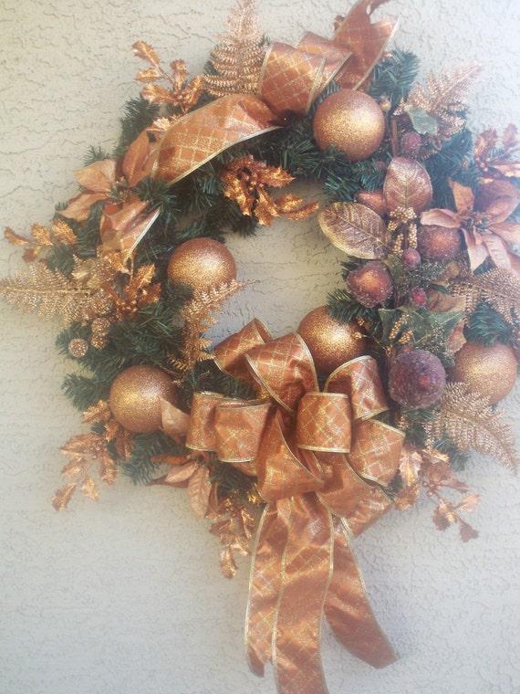 Items similar to gorgeous christmas bronze wreath