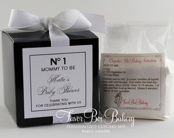 CUPCAKE COUTURE - One Dozen (12) No 1 Mommy to Be Bridal Shower Cupcake Mix Party Favors (White Label)