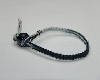 Blue and White Tie Dye Hemp Bracelet