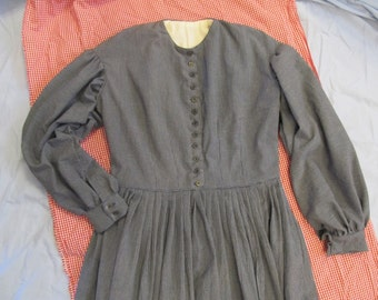 Custom size - Work / Camp Dress Civil War Era - homespun cotton fabric - metal buttons