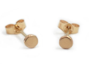Simple Organic 14k Solid Gold Earrings Minimalist Handmade Gift