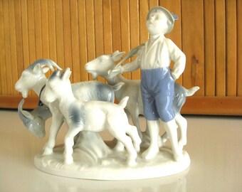 Figurine Gerold Porzellan Porcelain Boy Herding Goats Figurine Collectible