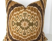 Decorative Designer Ikat Pillow Cover - Both Sides - Euro - Standard - King Size and Square - Brown - Gold - Olive