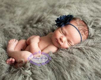 Navy baby headband, blue baby headband,  infant headband, newborn headband, navy flower headband, dark blue headband, 4th of July headband,