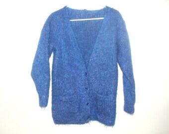 Vintage cardigan sweater warn blue textured fleck flecked fuzzy yarn ribbed knit handmade 1980's