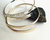 Custom Coordinates GPS Location Cuff Silver or Gold Crossover Expandable Wrap Personalized