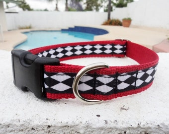 "Sale Dog Collar 3/4"" or  1"" width side release buckle adjustable Harlequin - no martingale limited"