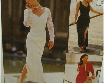 Fitted Evening Gown, Low V-Neck, Sleeveless, Lace Sleeves, Lined, Short Bolero, McCalls No. 6779 UNCUT Size 4 6 8